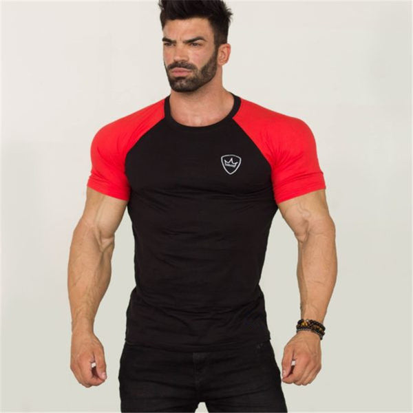 Mens Summer gyms Fitness brand T-shirt Crossfit Bodybuilding Slim Shirts printed O-neck Short sleeves cotton Tee Tops