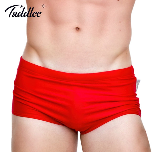 Brand Men's Swimwear Swimsuits Swim Boxer Briefs Solid Color Sexy Men Swimming Surfing Board Shorts Gay Basic Brazilian