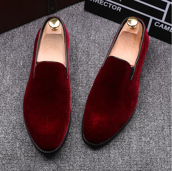 Velvet Men Loafers Luxury Brand Shoes Slip on Pointed Toe Party Wedding Shoes Fashion