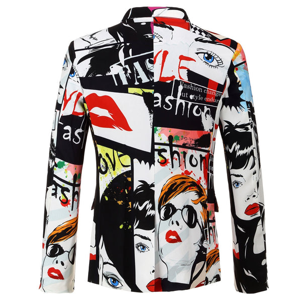 Tide Mens Fashion Print Blazer Design Plus Size Hip Hot Casual Male Slim Fit Suit Jacket Singer Costume