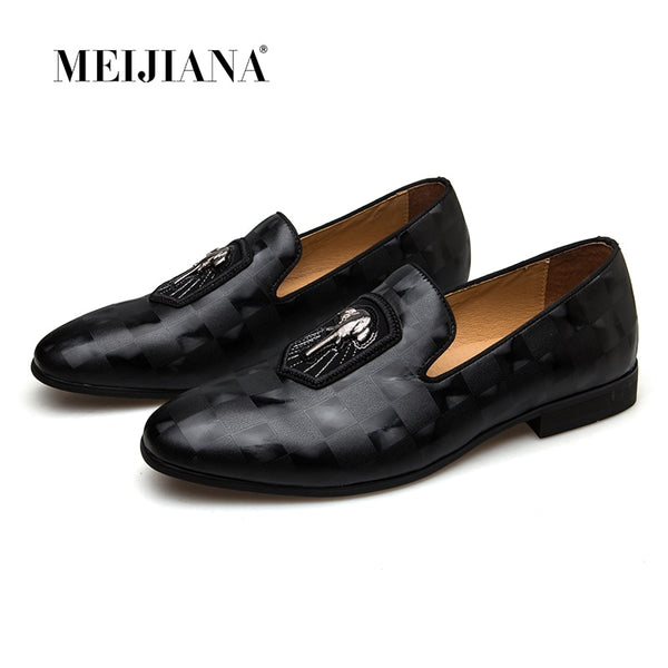 Genuine Leather Men Loafers Fashion Men Shoes Black Banquet Shoes