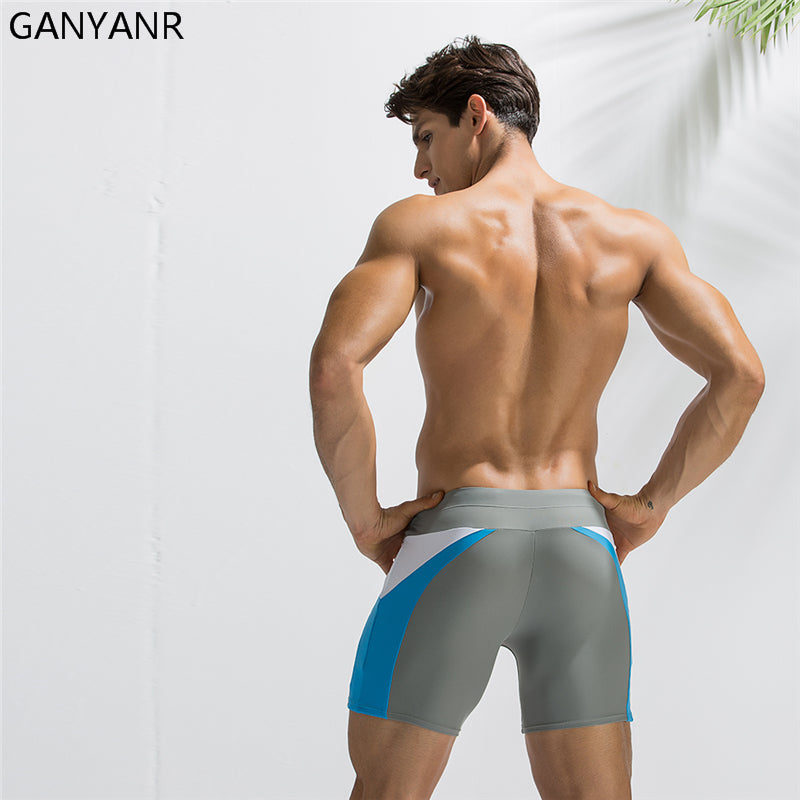 Mens Swimwear Swimming Trunks Swimsuit Shorts Gay Plus Size Spandex Swim Pants Sexy Boxer Briefs quick dry Boardshorts