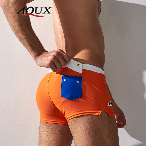 Men's Swimming Boxers Holiday Men Beach Pocket Decoration U convex design Swimming Trunks