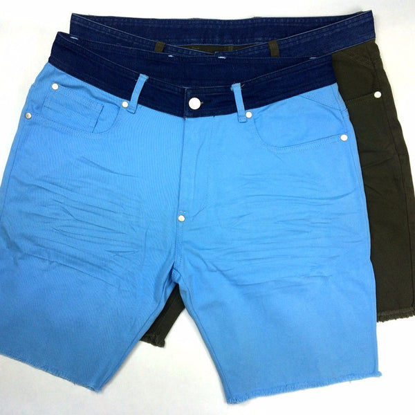 Men Shorts Tassel Denim Shorts Zipper Fly Homme Bermuda Male Contrast Waist Cold Dye Vintage Short