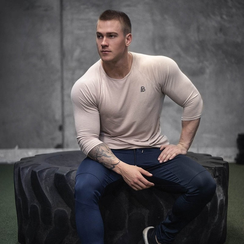 Men O Neck Long Sleeve Tee Shirts Slim