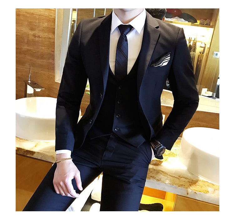 Solid Color slim fit male 3 piece suits wedding dress men Business Casual blazer Wedding Prom Dinner Suits Groomsman Wear tuxedo