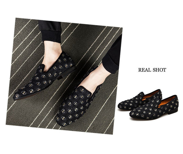 Mens Loafers Luxury Shoes With Denim And Metal Sequins High Quality Casual Men Shoes