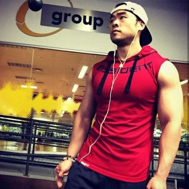 Brand Gyms Clothing Fitness Men Tank Top hooded Mens Bodybuilding Stringer Tanktop workout Singlet Sleeveless Shirt