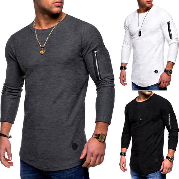 Slim Fit men t shirt Zipper splicing sleeve t-shirt Jacquard striped Longline curved hem hip hop tshirt streetwear