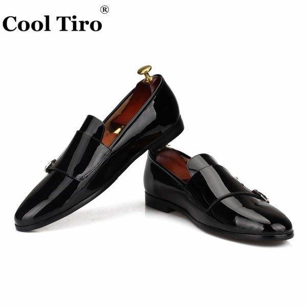 leather Men Loafers Double-Monk Moccasins Slippers Wedding Dress Shoes Formal Flats Handmade shoes Casual