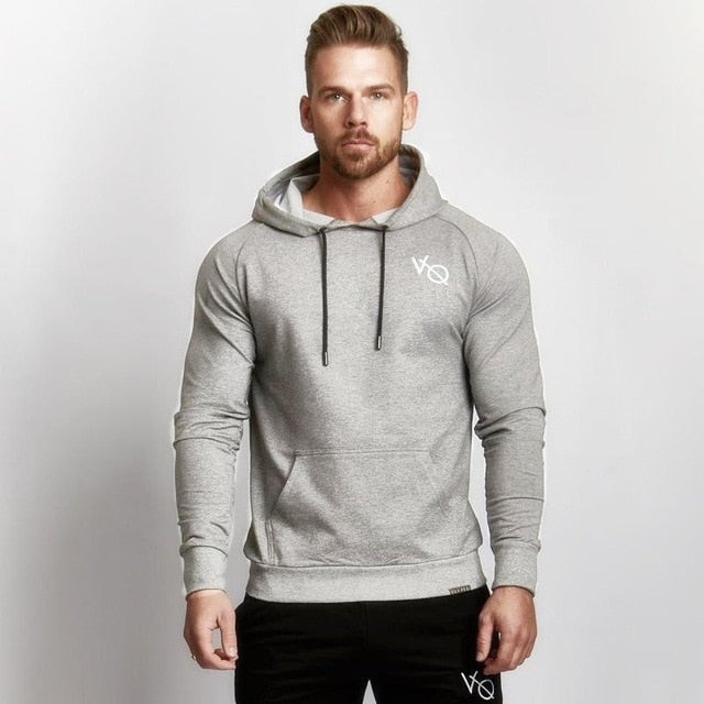 Men's Fitness Hooded Sweatshirt VQ Gyms Clothing Hoodies Workout Embroidery Hoodies Men's Fitness Slim Hooded jacket