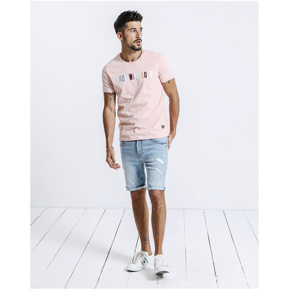 Summer Denim Shorts Men Fashion Hole Ripped Jeans Casual Cotton Slim Fit High Quality Brand Clothing
