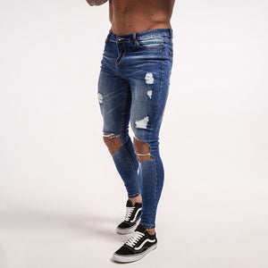 Ripped Jeans Dark Blue Men Jeans Super Skinny  Elastic Pant Fashion Slim Fit Stretch Hip Hop Street Wear