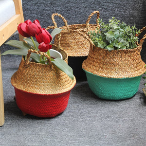 Folding Seagrass Basket laundry basket wicker bag Storage Basket Rattan Flower Pot Woven Garden Planter panier osier Kids Toys