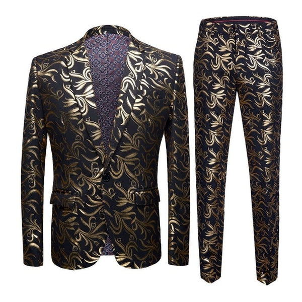 Male Plus Size 5XL Gold Floral Pattern Slim Fit Mens Suits With Pants Wedding Groom Tuxedo Singer Costume