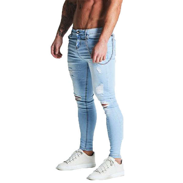 Blue Jeans For Men Skinny Super Spray on Ankle Tight Slim Fit Streetwear Hip Hop Stretch Jeans Big Size zm11 with Chain