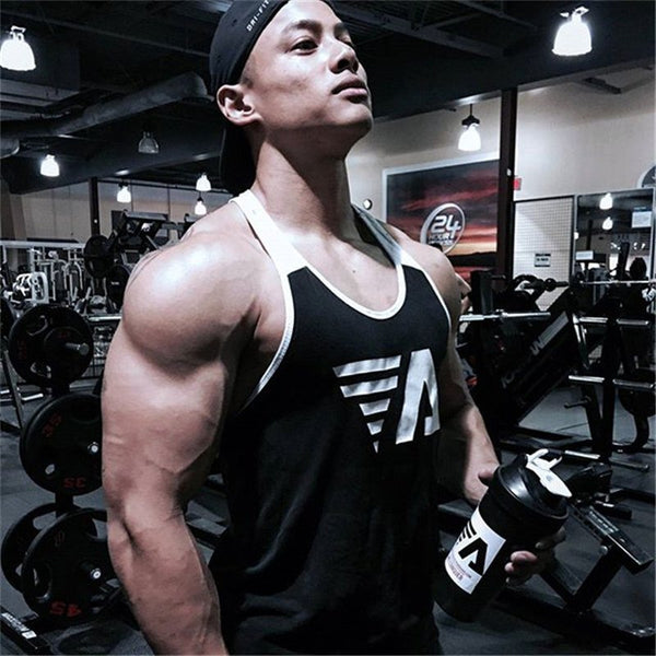 2018 New Bodybuilding Tank top mens sleeveless Splice shirt Gyms Fitness Casual GYMS slim fit printing Male vest tops clothing