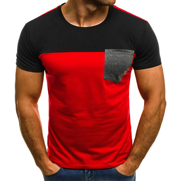 Men's Short Sleeves T Shirt Summer O Neck Patchwork T-Shirt Mens Casual Chest Pocket Top Tees Shirts