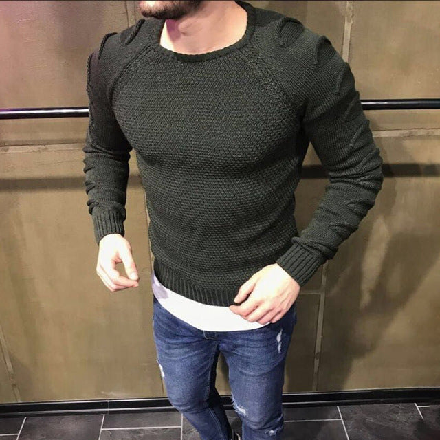Men's Pullover Casual Fitness Solid Sweater O-Neck Bodycon Long Sleeve Knitted Male Winter Jersey Hole on Shoulder