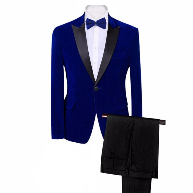 Brand Mens Classic 3 Pieces Set Velvet Suits Stylish Burgundy Royal Blue Black Wedding Groom Slim Fit Tuxedo Prom Costume