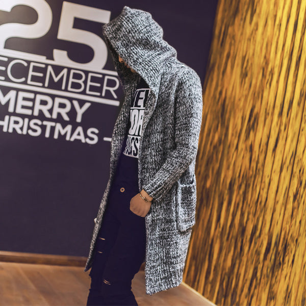 Men's Cardigan Hooded Sweaters New Fashion Male Long Sweaters Men Solid Cardigan Sweaters