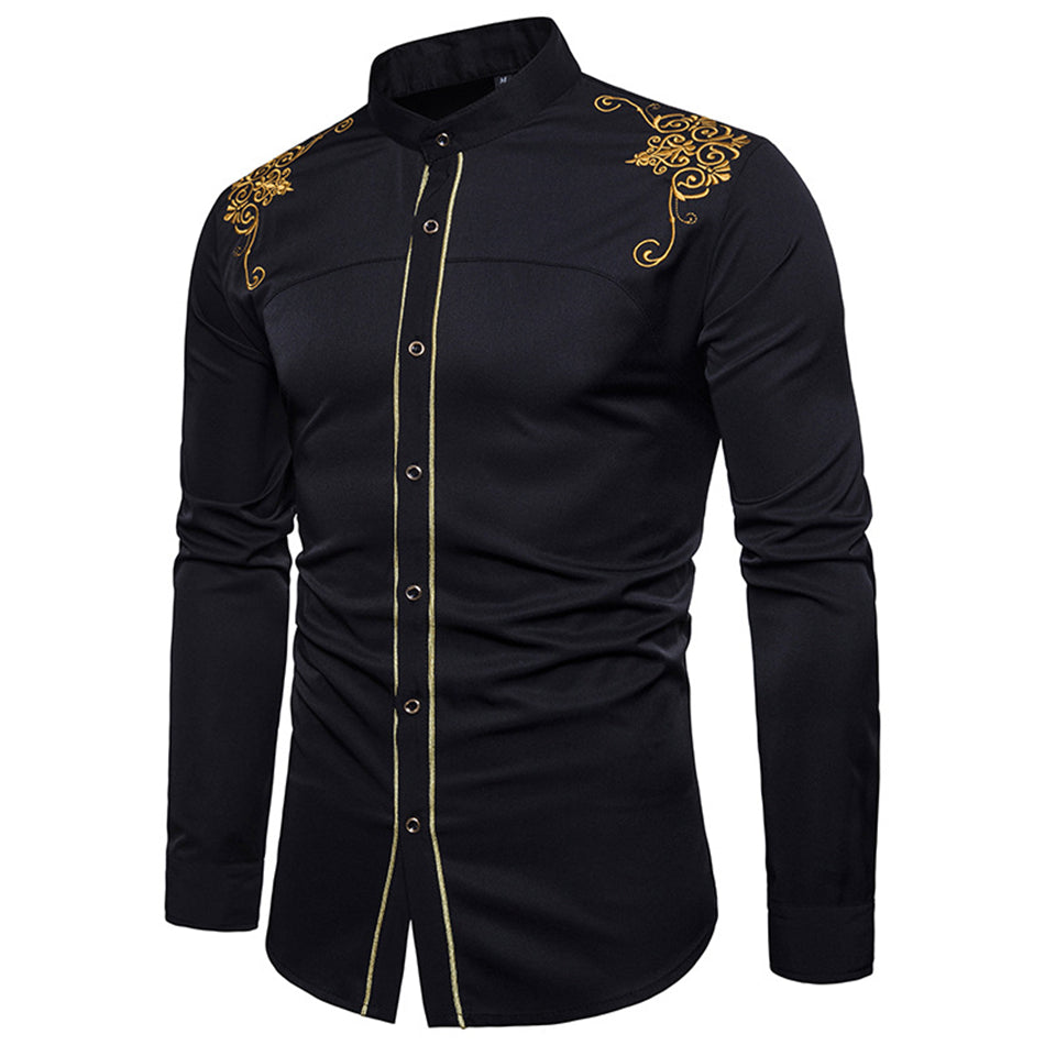 Men's Shirt for  African Dresses Fashion Men Clothes Long Sleeve Bazin Embroidered 4Color Autumn Traditional Africa Dress