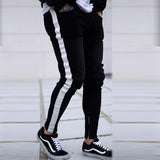 Men Skinny Fear of god Knee Hole Side Zipper Slim Distressed Ripped Jeans Men Ripped tore Jeans For Men stripe