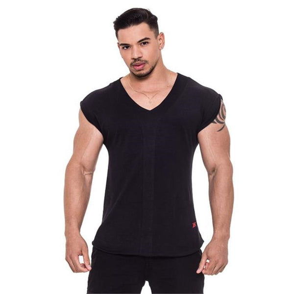 gyms clothing fitness t shirt men fashion extend summer short sleeve t-shirt cotton muscle guys Brand