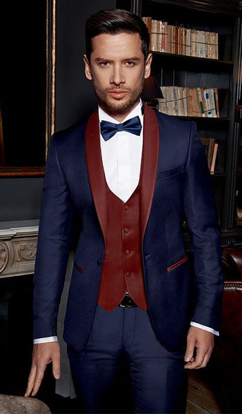 Tailored Navy Blue Suit Men Groom Tuxedo Wedding Suits for Men Jacket 3 Piece Custom Prom Blazer Terno Masculino