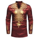 Longline African Dashiki Shirt Men Autumn New Stand Collar Long Sleeve Dress Shirt Men Traditional African Clothing Camisas