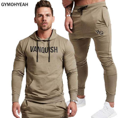 Fashion Men Set Long Sleeve Hoodies+Pants Set Male Tracksuit Outdoors Suit Men's Gyms Set Casual Sportswear Suit