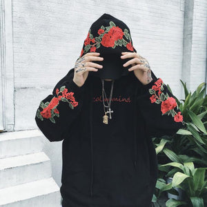 New couples Hoodies roses Embroidered long Sleeve Men and Women Felpata vintage elegant casual Shirts and Men fleece