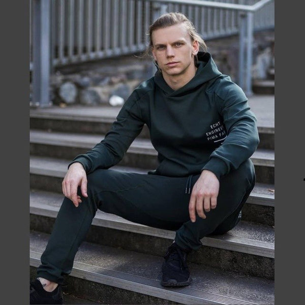 Autumn Gyms Fashion sets mens gyms slim fit pants+Hooded sweater 2PC Leisure Sportswear Men's bodybuilding set clothing