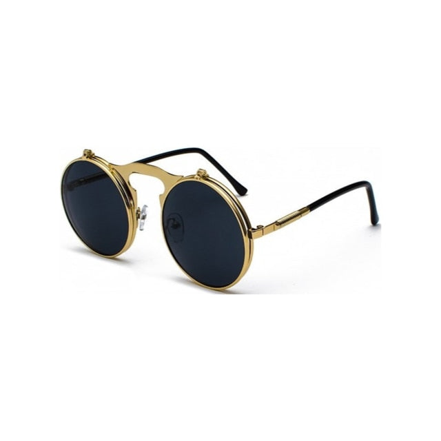 Retro Steampunk Circle Vintage Round Flip Up Sunglasses Women Men Punk Style Sunglass Metal Frame Black Sun Glasses Male UV400