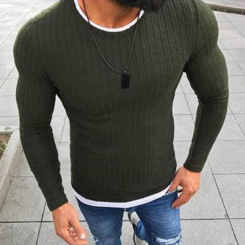 Fashion Pullover Knitted Sweater O-neck Casual Long Sleeve Warm Pullovers Male Sweaters Big size clothes