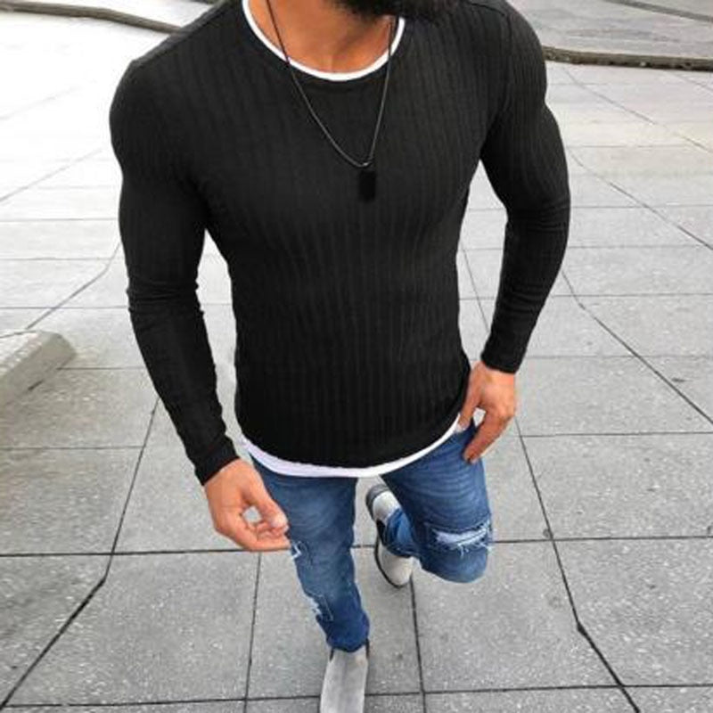 47400abb2023a ... Fashion Pullover Knitted Sweater O-neck Casual Long Sleeve Warm  Pullovers Male Sweaters Big size ...