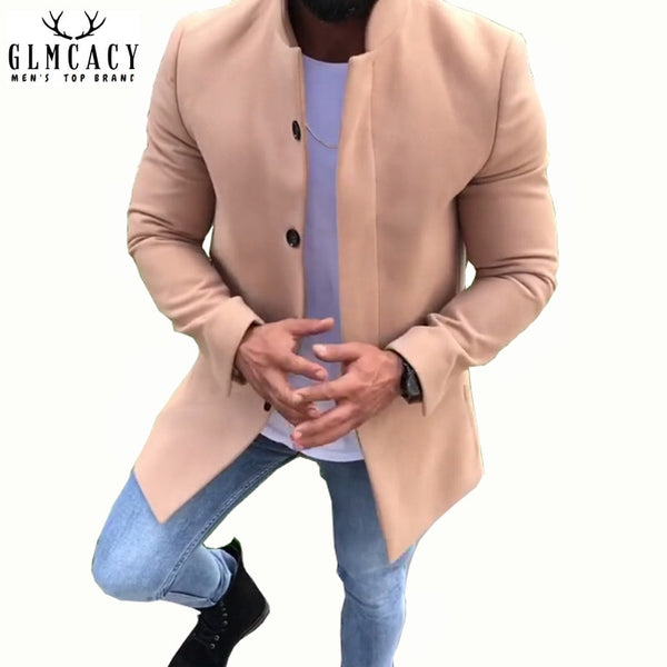 Men's Casual Solid Color Lapel Collar Wool Coat England Middle Long Coats Jackets Slim Fit Winter Overcoat Woolen Coat