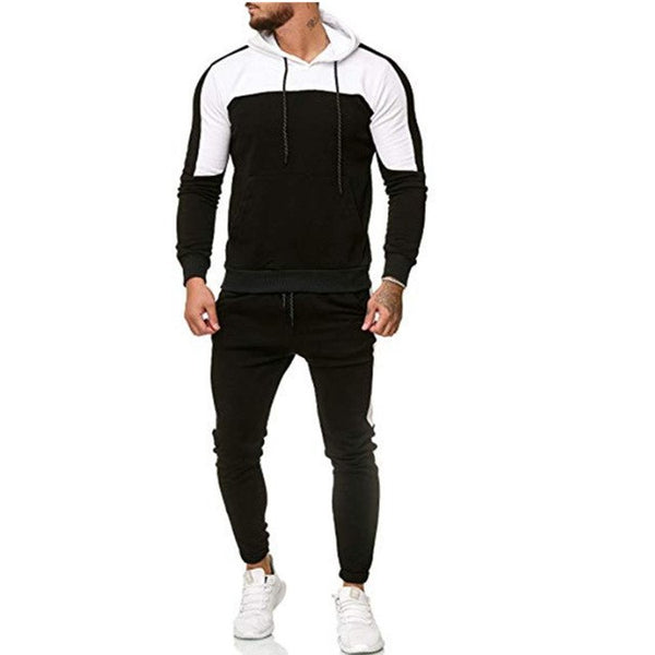 Men 2 Pieces Track Suits Casual Cotton Drawstring Patchwork Long Sleeve Pullover Hoodies with Pockets Slim Fit Jogger Pants