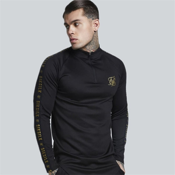 Mens Stretch TShirt Solid Color turtleneck high-elastic Long Sleeve T Shirts Men Slim Casual MensT-Shirt