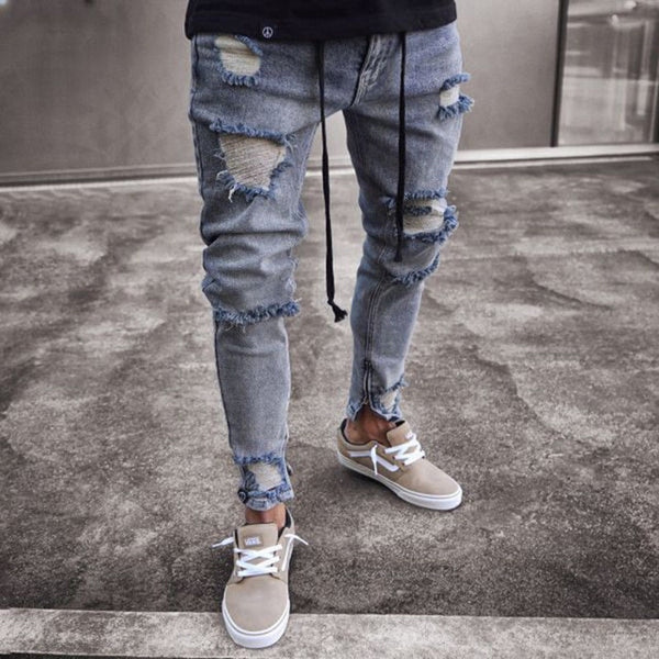 Skinny Ripped Jeans For Men Male Blue Motorcycle Jeans Denim Pants Fashion Brand Hole Biker Jeans Plus Size S-3XL