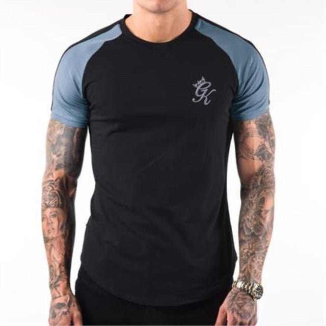 new Summer men's t-shirt Casual Splicing Fashion Sweatshirt T shirt mens Short sleeve gyms Fitness bodybuilding tee Sportswear