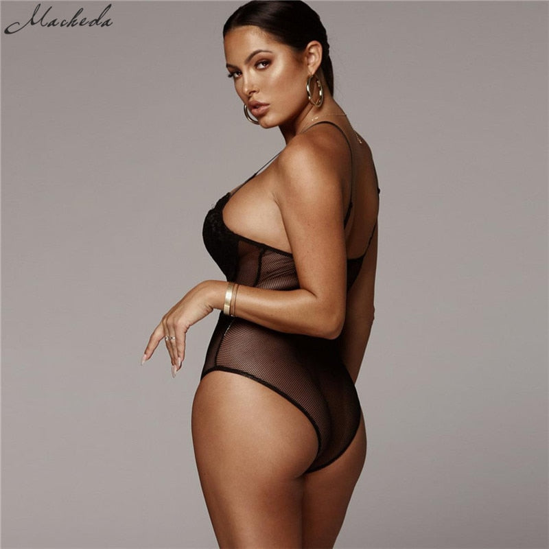 Macheda Sexy Deep V Lace Bodysuit Women Catsuit Sleeveless Solid Summer Jumpsuit Backless Leotard Bodies One Piece New