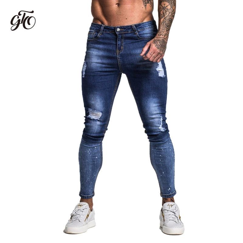 Gingtto Dark Blue Ripped Jeans For Men Hip Hop Streetwear Designer Super Skinny Stretch For Men with Brush Print jeans