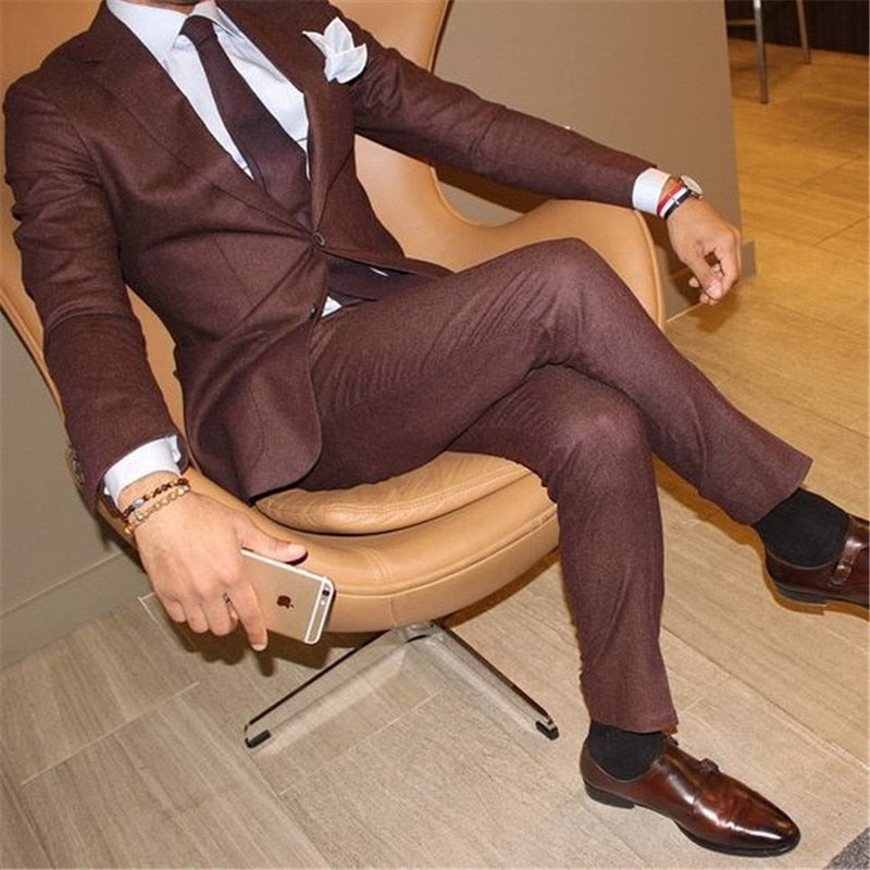 Two Button Brown New Costume Homme Men Suits For Wedding 2Pieces(Jacket+Pant+Tie) Terno Masculino Groom Blazer Tuxdeo 496