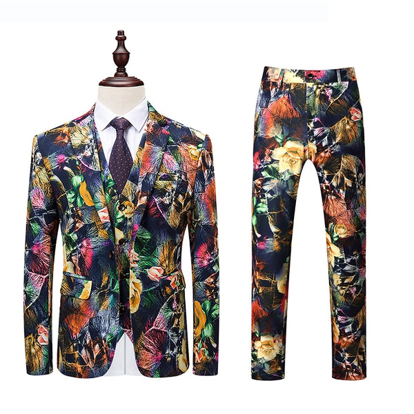3PC Men Suit Brand Slim Fit Casual Mens Floral Dress Suits Night Club/Party/Prom/Groom/Wedding Tuxedo Formal Wear 6XL