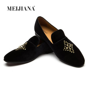 Fashion Loafers Men Shoes Men's Rivet Suede Leather Loafer Shoes Slip-on Loafer Men Dress Shoes