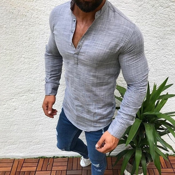 Fashion Mens Pullover Shirt Long Sleeve Linen Shirts Collarless Shirt Men Camisas Manga Comprida