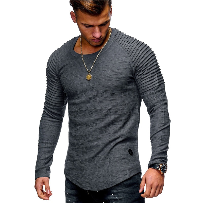 5ab0b3742 ... New Fashion Men's Round Neck Slim Solid Color Long-sleeved T-shirt  Striped Fold ...