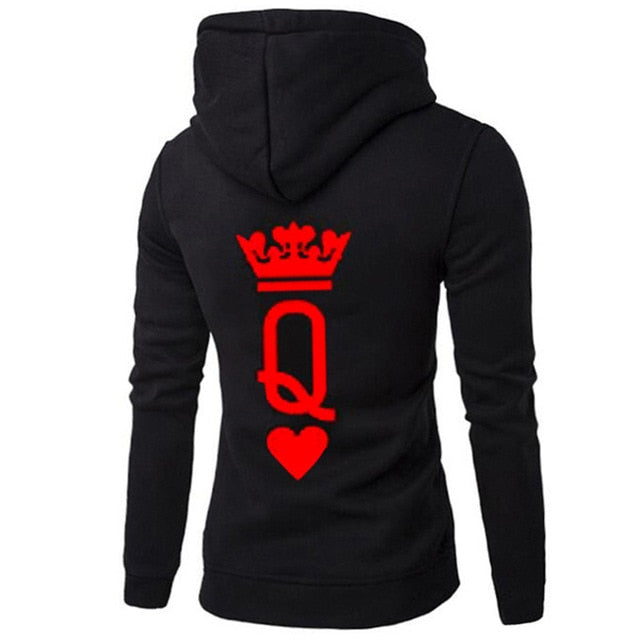 QUEEN KING Print Hooded Long Sleeve Couple Top Fashion New Style Casual Women T-Shirt Letter King Queen Long Sleeve Shirt Women