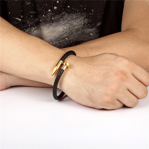 Cover Braid leather Bracelets Men Stainless Steel Nail bracelet love Charm bracelets Bangle Fashion masculina Jewelry homme